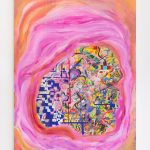 Vertical abstract multicolored painting consisting of layers of shapes. Orange and pink concentric brush strokes form the periphery of the image. At the center are varied small shapes and lines that are layered over one another and appear to be floating within the pink shape. Colors include many shades of red, green, pink, yellow, blue, orange and white.