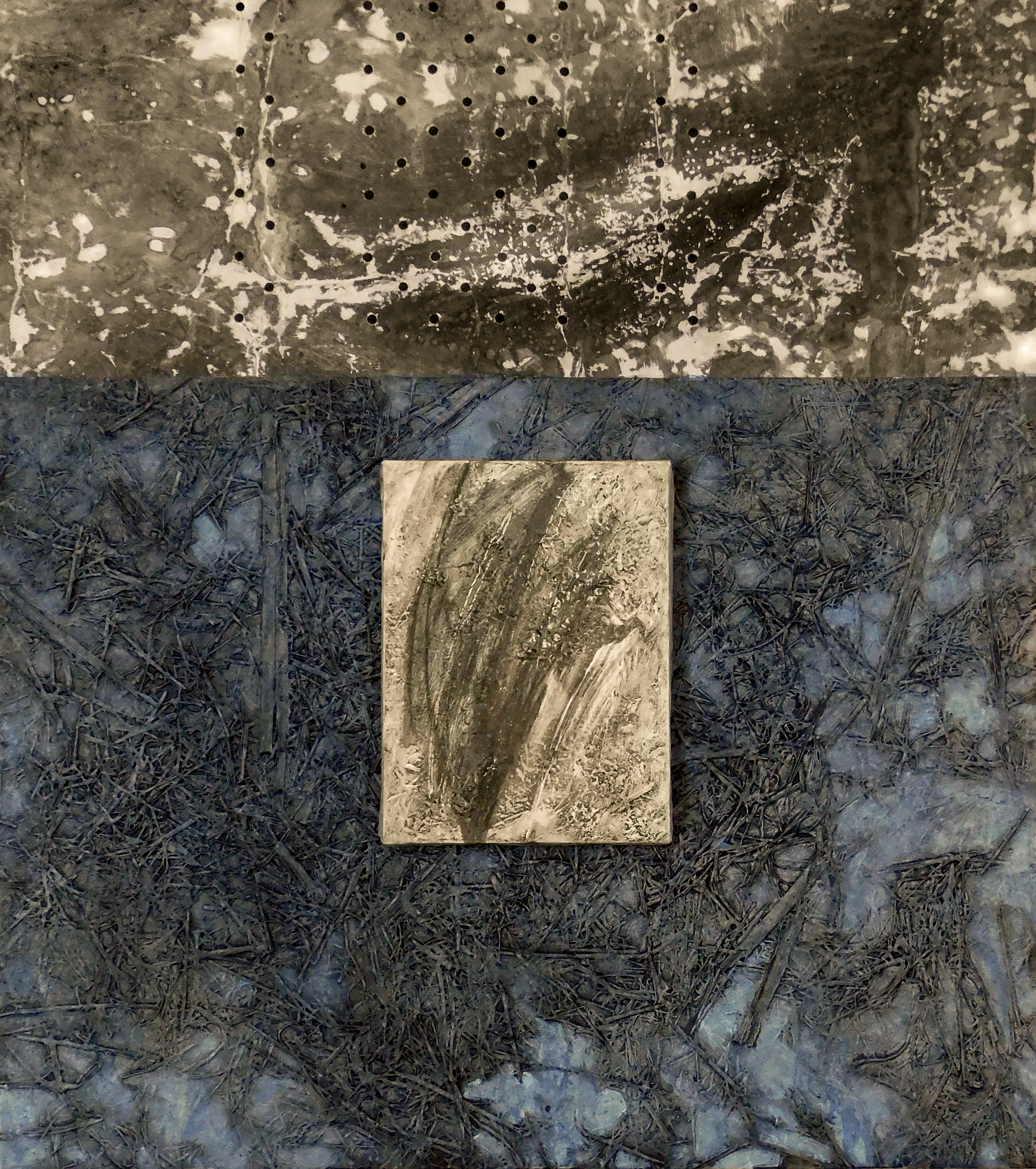 textured abstract art in blue and grey colors