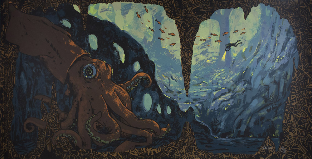 Modern print art. There is a brown squid in the foreground in an underwater cave. In the background there is a scuba diver shining a light and surrounded by fish.
