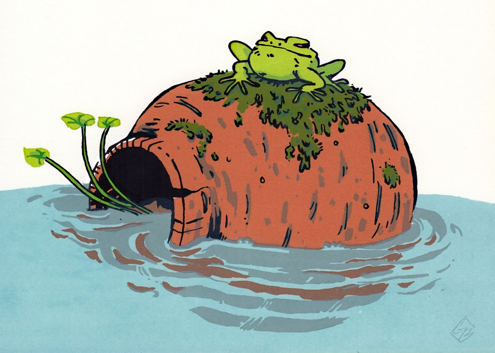 Modern print art. Bright green frog is sitting on top of a clay pot which is turned on its side and half submersed in water.