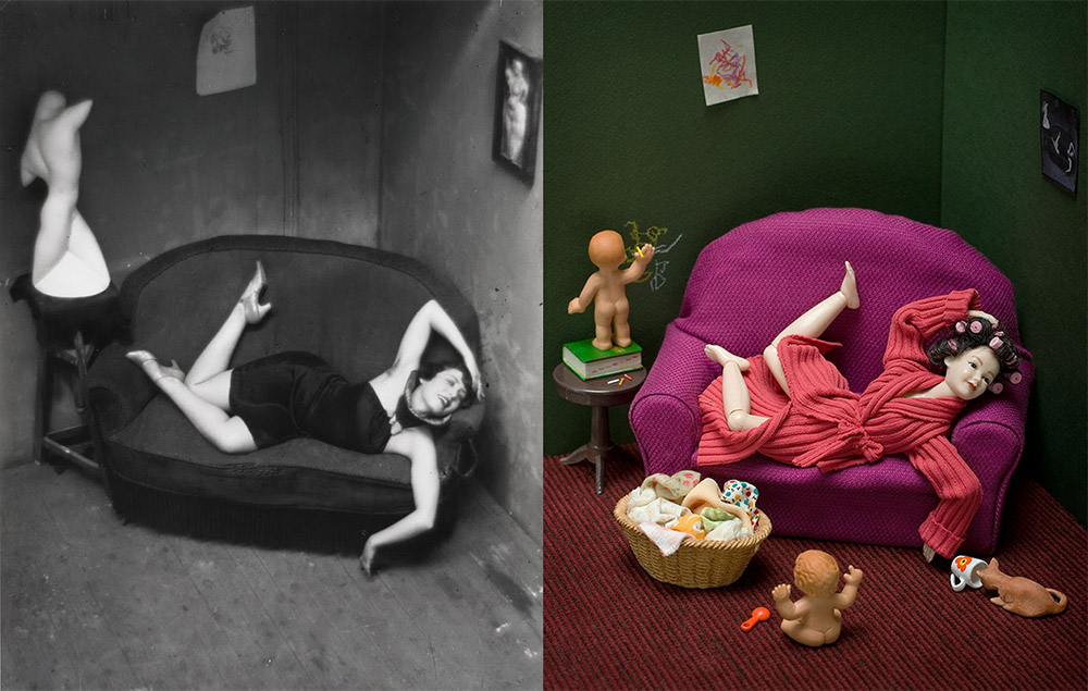 Woman laying on a sofa, left in black and white, right in color