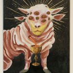 : Oil painting of a mythical animal that has the head and hooves of a sheep, but has two pairs of ears and eight eyes across its forehead. The animal faces the viewer directly, showing its head, front legs and torso, but the rear legs are not seen. A wound on its chest pours orange blood into a golden chalice. Gold rays eminate from its head. The animal is painted in shades of pink, white and yellow and is set on a black background.