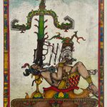 Intalglio print that has been hand colored. A male figure dressed in the style of indigenous people of Central America is laying back on an elaborately decorated platform. His body is seen in profile. The base of the platform looks like the base of a tank, with gears and a tread. Protruding from the mouth of the man is what looks like the barrel and scope of a weapon, and a tall plant grows out of that barrel. In the background is a cloudy sky with a band of light blue at the top. A colorful border frames the image. Predominant colors in the work include green, red, yellow, brown and blue