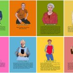 Digitally illustrated portraits are displayed in a grid of 2 rows, each with four brightly colored rectangles. Each portrait is of an individual, and a paragraph of text below each person contains a quote from that person. Colors include green, orange, pink, yellow and blue.