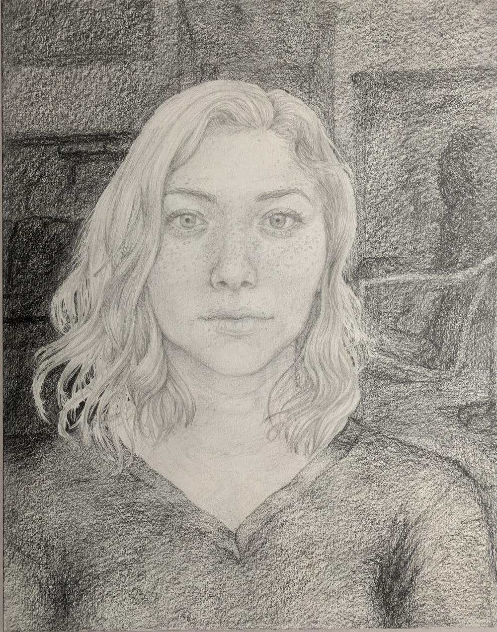 """Ellen Cervantes; Self Portrait, 2019; Graphite on Paper; 24 x 16""""; Drawing"""