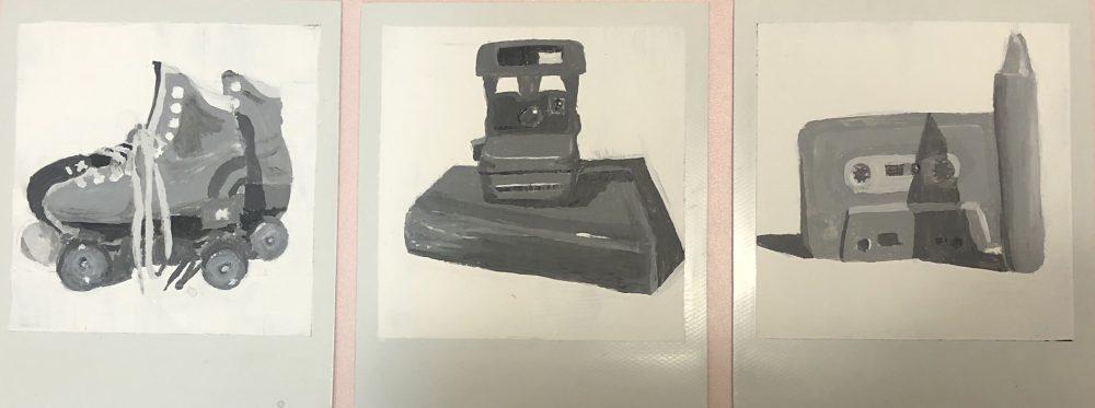 "Lucien Smith; 1980s Triptych, 2020; Acrylic Paint, Polaroid Film; 4 x 9""; Painting"