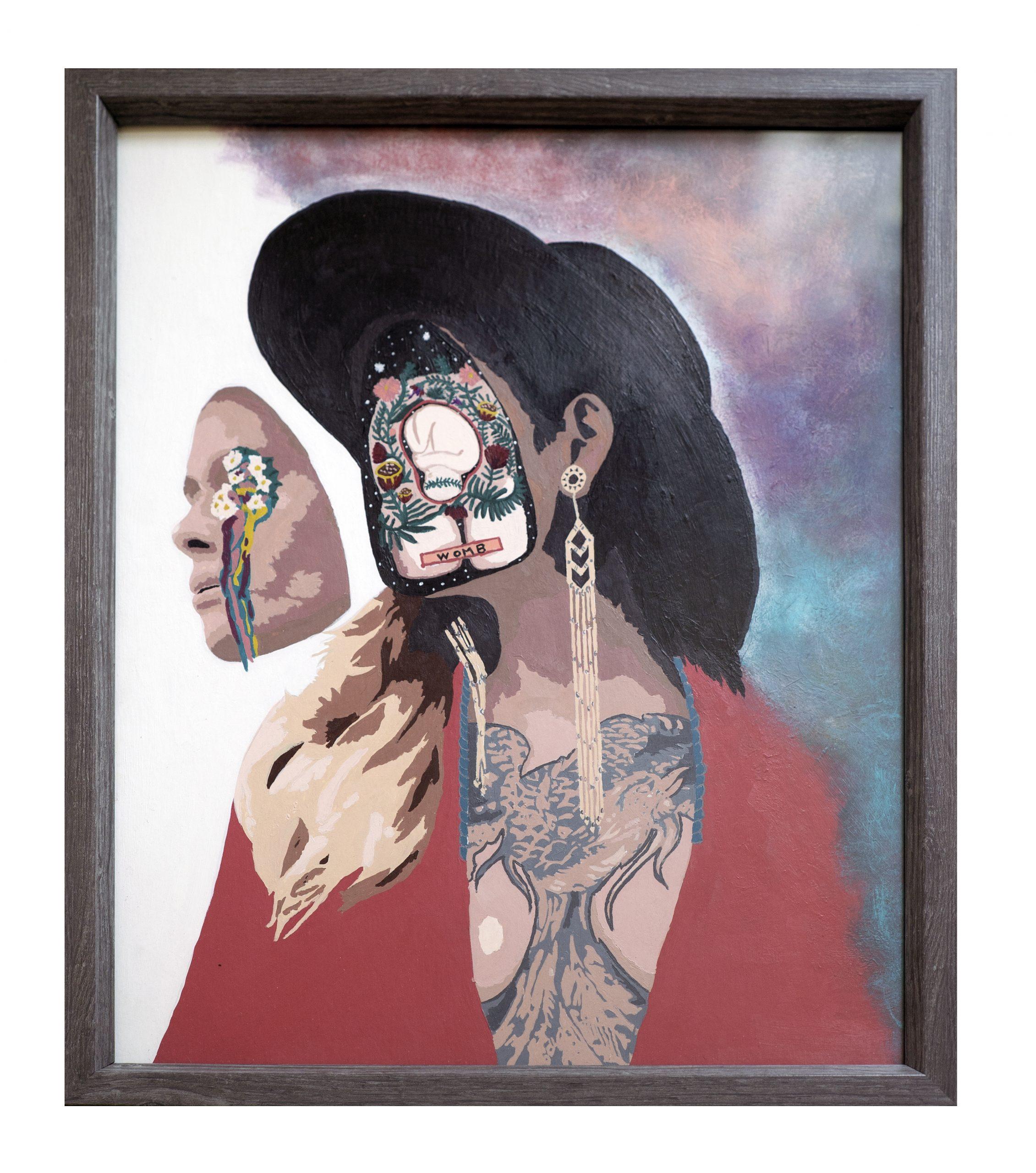 "Jaq Schmitz; Maternal Generational Trauma and Healing, 2020; Acrylic Paint on Poster Board; 20 x 16""; Painting"