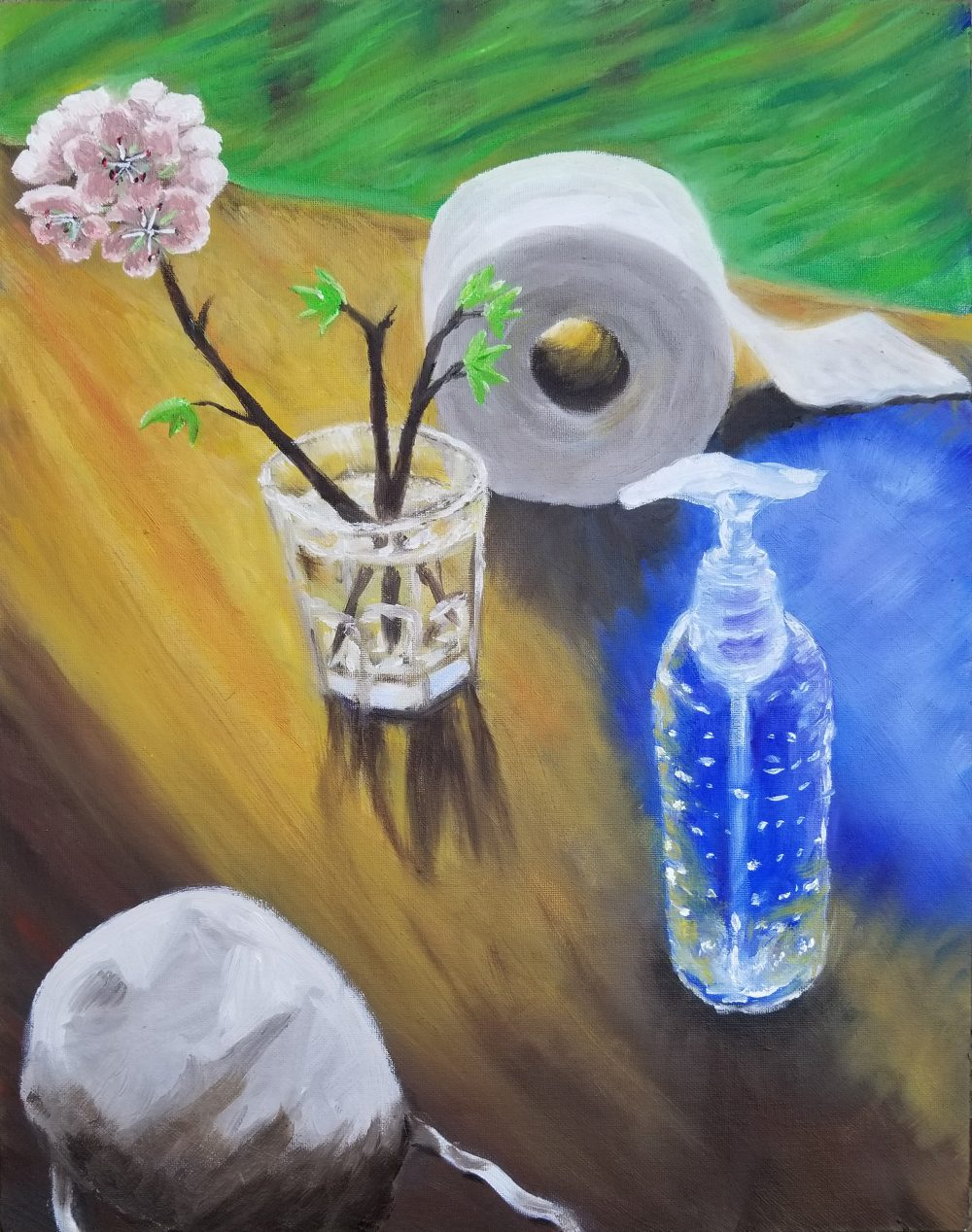 """Maggie Dunklee; Still life with hoarded items, 2020, Oil Paint on Canvas Board; 18 x 14""""; Painting"""