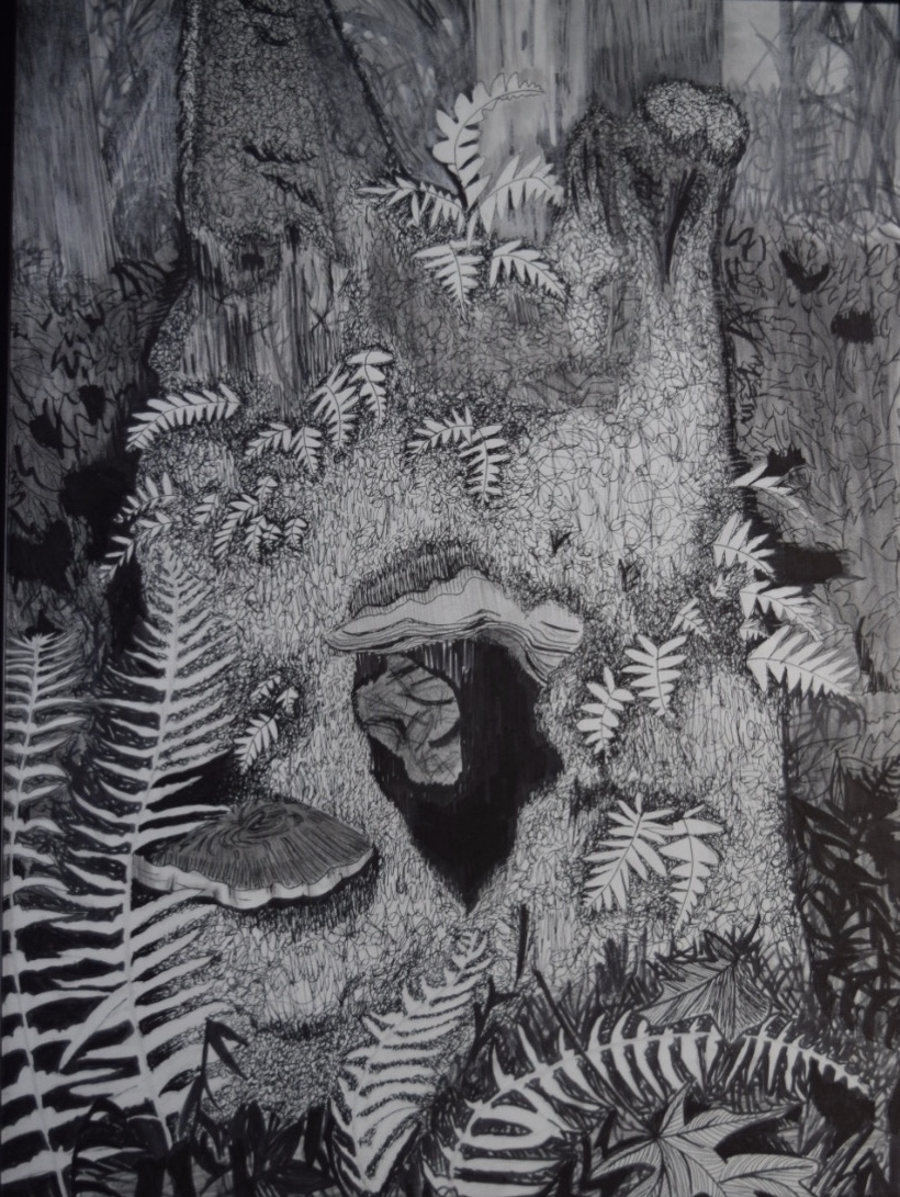 """Holly Lawrence; Mossy Stump, 2019; Pen, Pencil, and Chalk on Paper; 24 x 18""""; Drawing"""