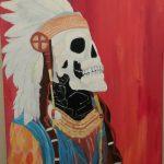 "Cruz Hernandez; Native and Cowboy, 2020; Acrylic Paint; 20 x 18""; Painting"