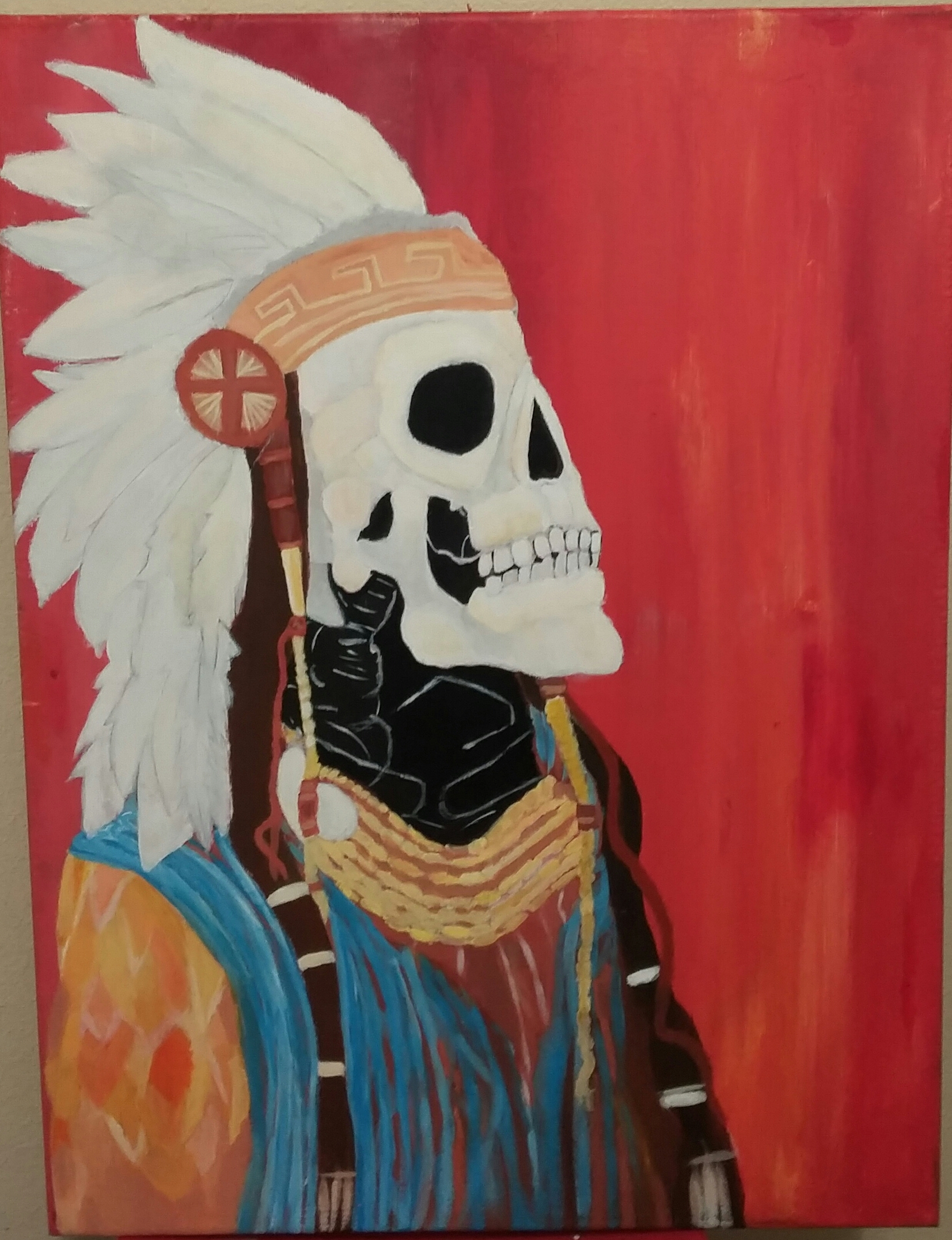 "Cruz Hernandez; Native and Cowboy, 2020; Acrylic Paint; 20 x 18""; Painting"