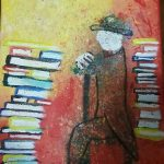 "Cruz Hernandez; Books Stack, 2019; Acrylic Paint; 11 x 5""; Painting"