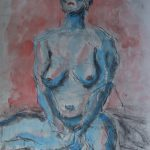"Kevin Lane; Emilie, 2020; Watercolor on Newsprint, Graphite and Charcoal Mounted on Cardboard; 24 x 18""; Painting"