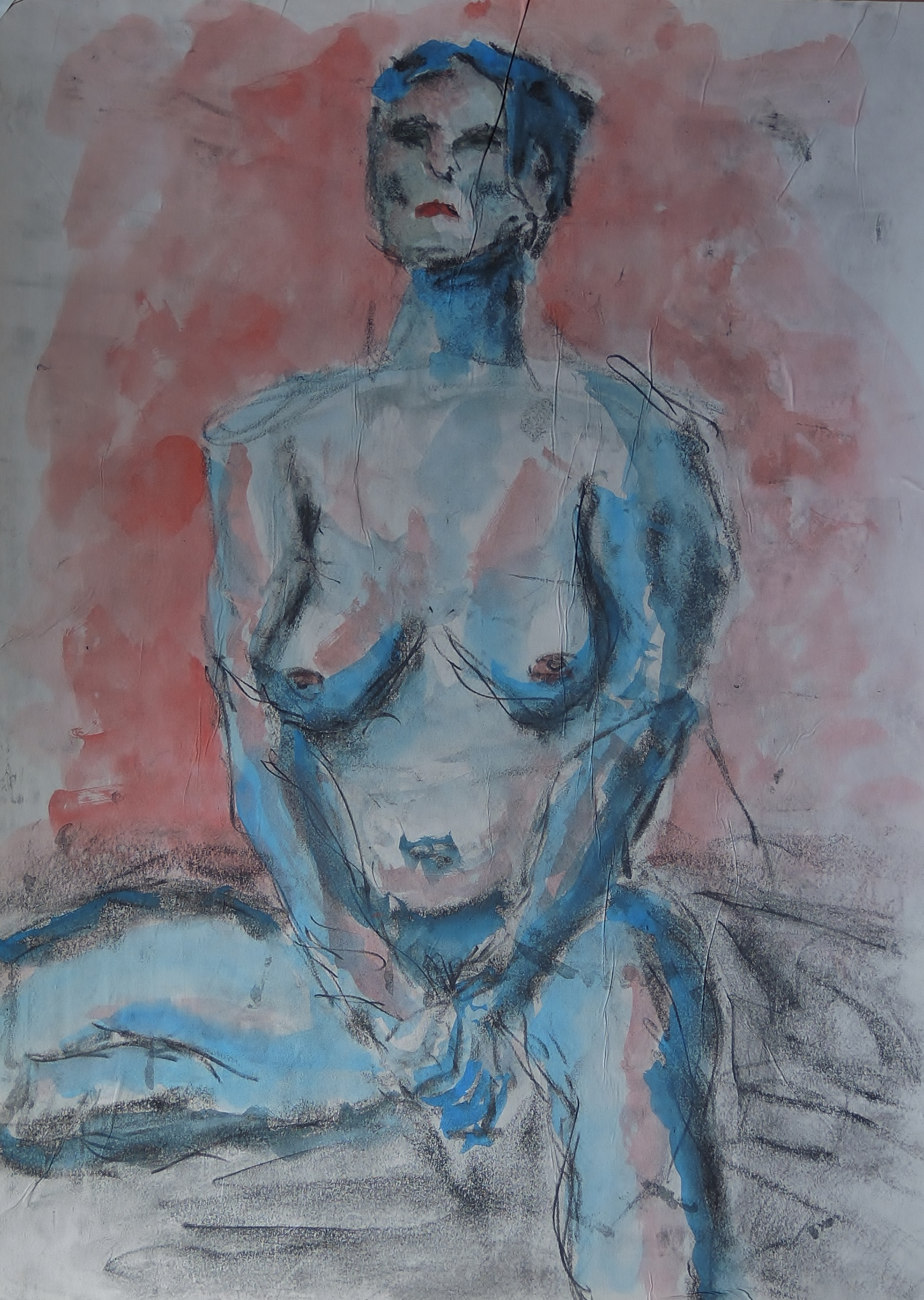 """Kevin Lane; Emilie, 2020; Watercolor on Newsprint, Graphite and Charcoal Mounted on Cardboard; 24 x 18""""; Painting"""