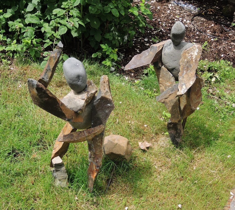 """Kevin Lane; Dancers, 2019; Basalt from the Clackamas River Cliffs, River Rock, Steel Pins and Epoxy, Rebar; 36"""" Tall; Drawing"""