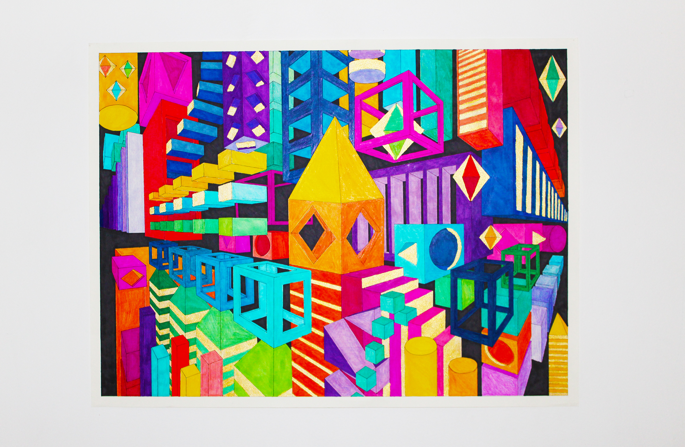 """Gigi Davies; Point Perspective City, 2019; Ink and Watercolor Markers on Paper; 18 x 24""""; Basic Design"""