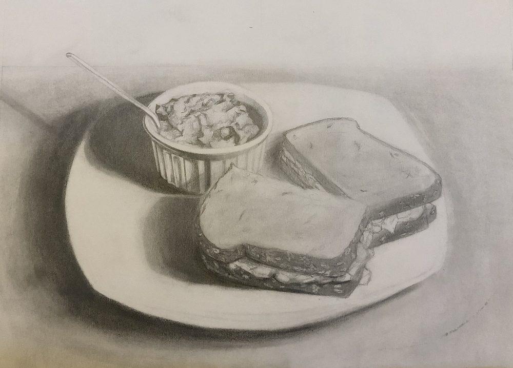 "Ivory Bradshaw; Quarantine Dinner, 2020; Graphite on Paper; 9 x 12""; Drawing"
