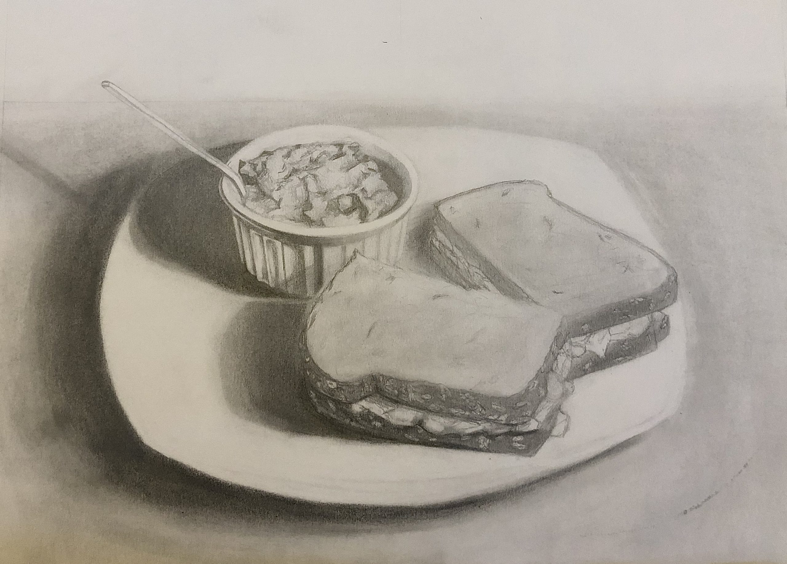 "Ivory Bradshaw; Quarantine Dinner, 2020; Graphite on Paper; 9 x 12""; Drawing"
