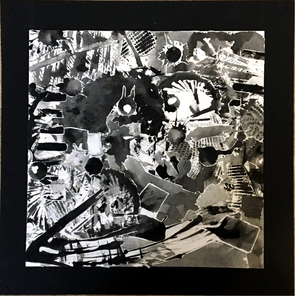 "Damon Diehr; The Beginning, 2019; Ink on Paper and Matte Board; 10 x 10""; Basic Design"