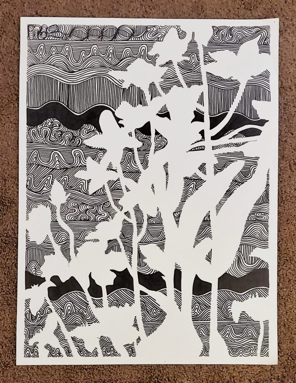 """Sydney Erickson; Blank Blossoms, 2020; Ink on Paper; 24 x 18""""; Drawing"""