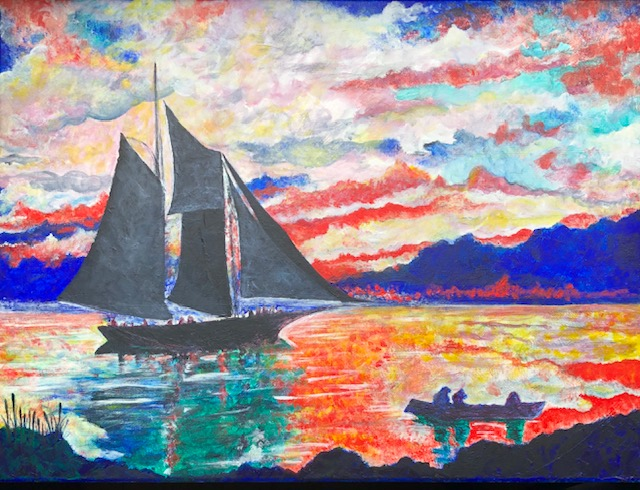"""Eric Stone; Winslow's Water, 2020; Acrylic on Recycled Canvas; 18 x 24""""; Painting"""