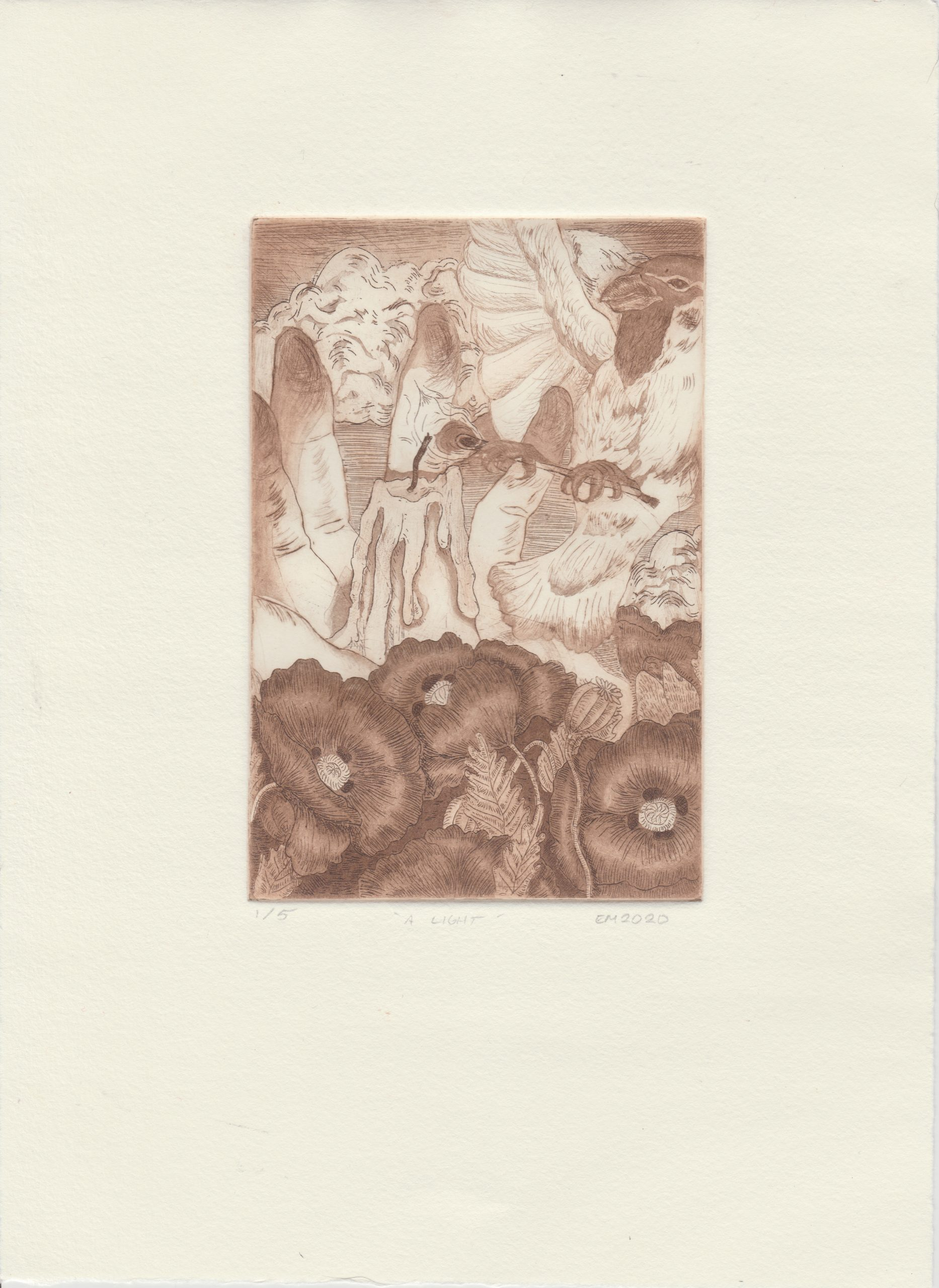 """Emerson Mitchell; A Light, 2020; Etching, Aquatint, and Drypoint on Hahnemuhle Copperplate paper; 11 x 8""""; Printmaking"""