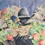 """Emerson Mitchell; Trouble in Paradise, 2020; Watercolor and Gouache on Cold Press Paper; 18 x 24""""; Painting"""