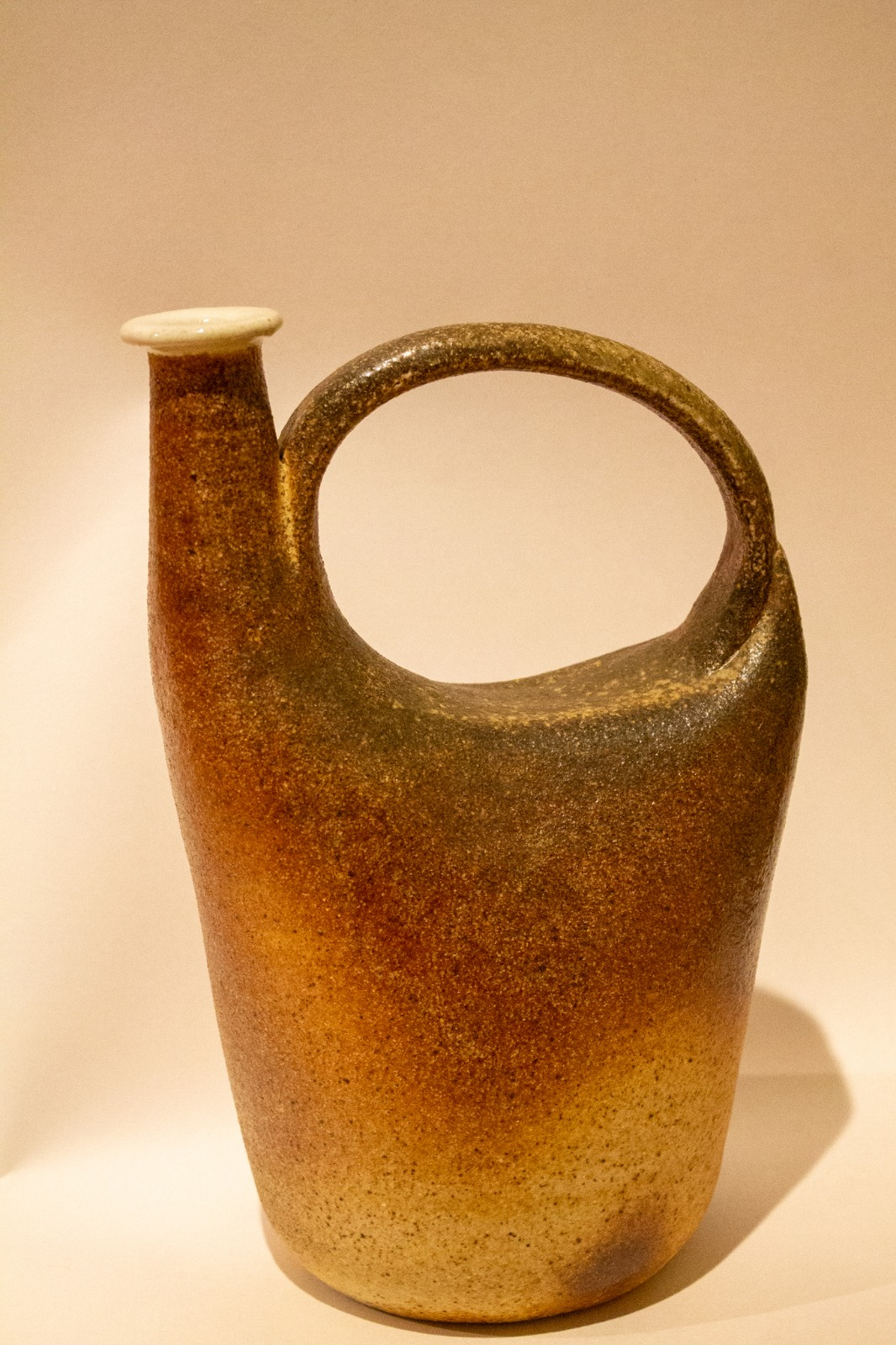 Sara Bachenberg; Stoneware Jug, 2019; Stoneware, Thrown and Altered, Wood Fired; 12 x 8 x 5""