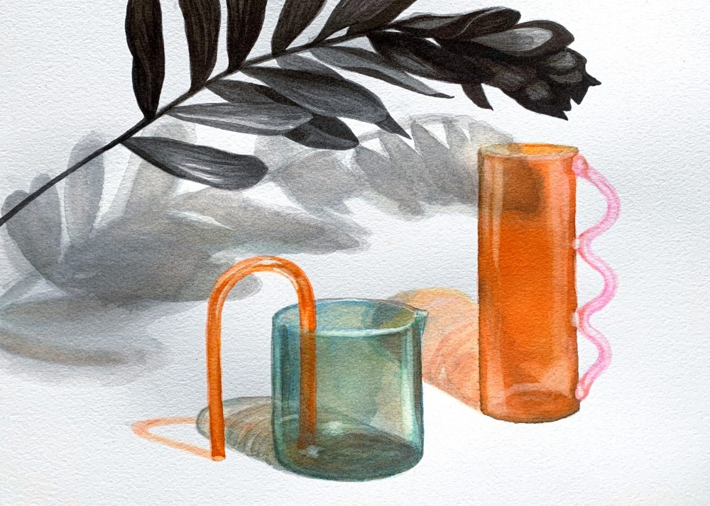 """Megan Cooper; Odd Glass, 2020; Drawing Inks on Paper; 9 x 12""""; Drawing"""