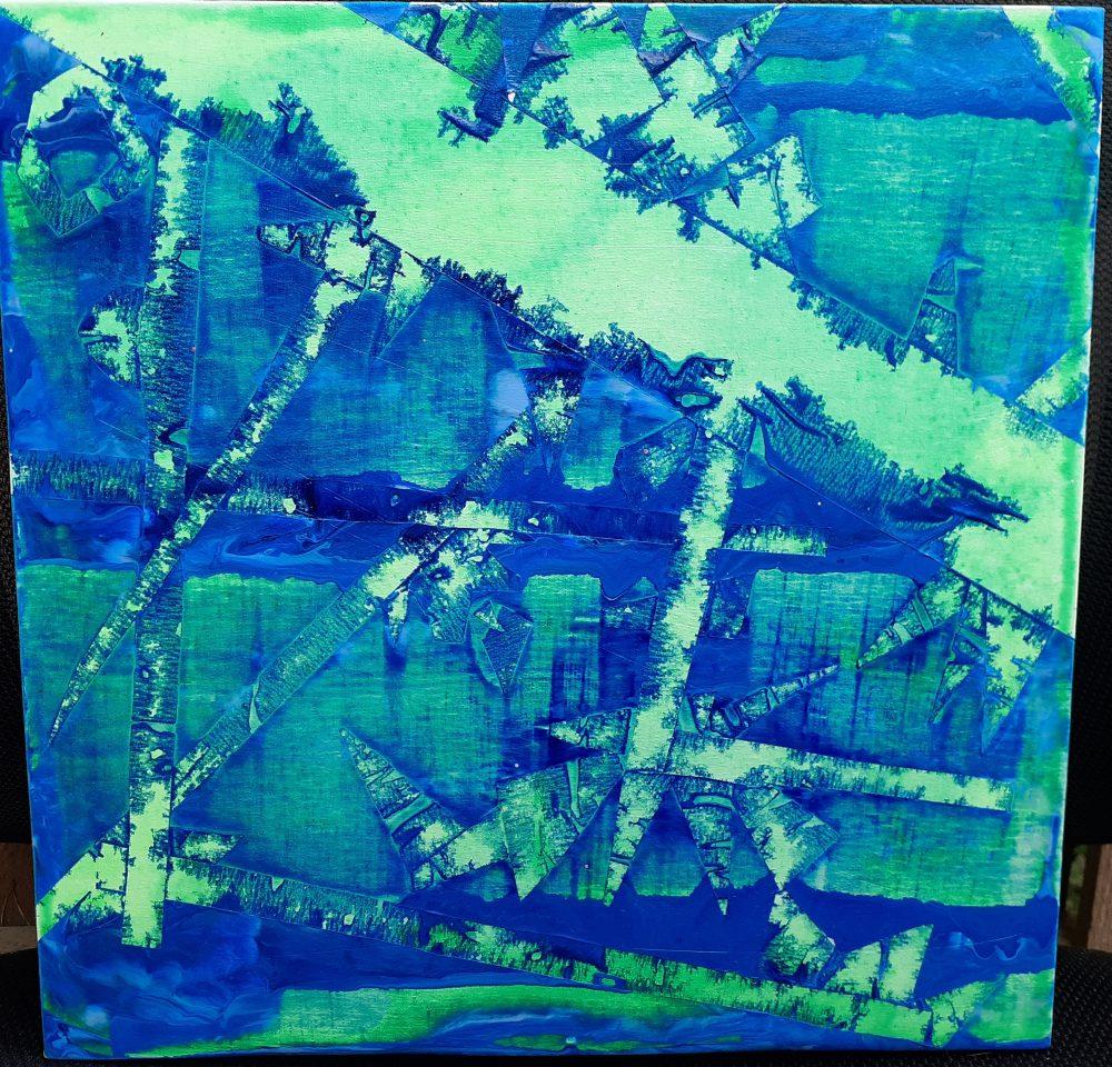 """Ashleigh Pearl; Geotape, 2020; Acrylic on Canvas; 12 x 12""""; Painting"""