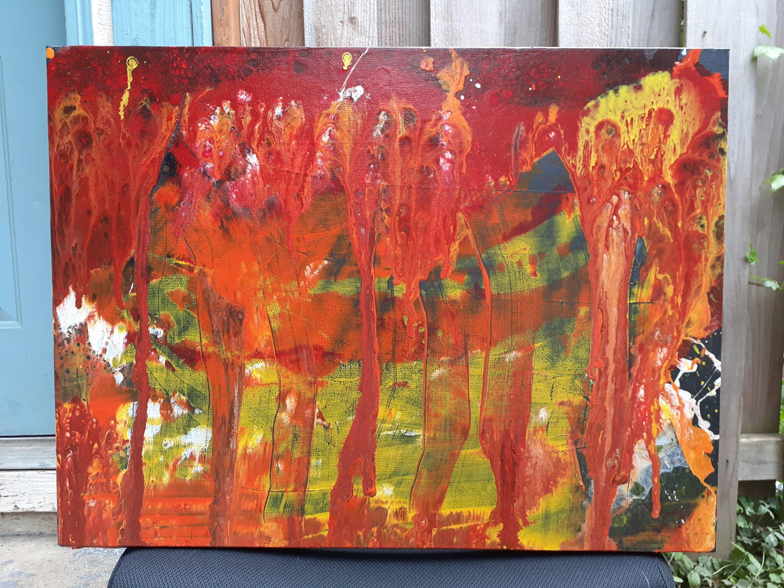 "Ashleigh Pearl; On Fire, 2020; Acrylic on Canvas; 18 x 24""; Painting"