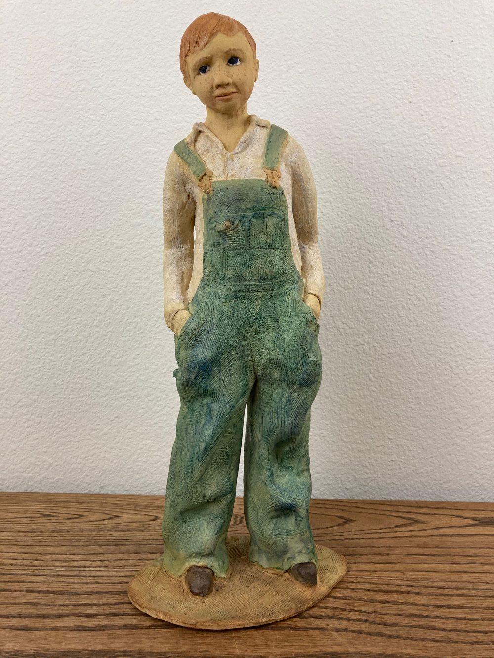 """Sanda Smith; Texas Boy, 2019; Stoneware, Glazes, Alcohol Ink; 16 x 7 x 4.5""""; Ceramics"""