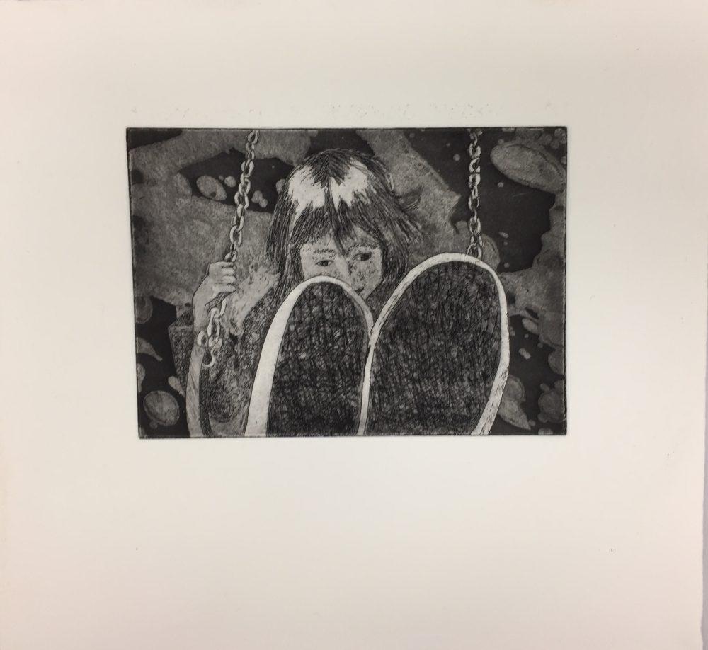 "Kambra Phoebus; Swinging, 2019; Intaglio, Dry Point, Etching, and Aquatint; 10 x 11""; Printmaking"