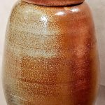 "Rasec Urbina Benton; La Robusta, 2020; Mac-10 with Sand, Wood Fired; 16 x 8 x 8""; Ceramics"