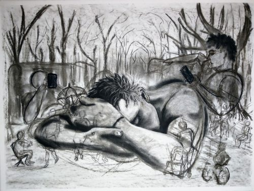 "Bernadette Bonk; New Realities, 2020; Charcoal on Paper; 22 x 30""; Drawing"