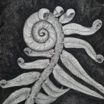 """Maggie Dunklee; Fern Frond Unfurling, 2020; Compressed Charcoal and Erasers; 18 x 24""""; Drawing"""