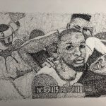 "German Amaya, Damian Lillard's The Shot, 2020, pigma micron black archival ink on Strathmore drawing paper, 18"" x 24"""