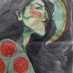 "Lou Jenkins-Law, Green Knight Woman, 2020, sumi ink, pastel, and crayon on news print, 24"" x 18"""