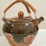 "Leila Piazza, Earthen Teapot, 2020, mac-10 clay fired at cone 10, copper wire, 7"" x 6.5"" x 6.5"""