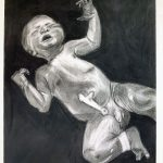 "Shania Sweet, The Baby, 2019, charcoal and conte on paper, 24"" x 18"""