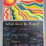 "Katherine Wood, What Gives YOU Hope?, 2020, mixed media: chalk, pastel and watercolor paint on paper (upper portion), spray paint, chalk, and tape on poster board (lower portion), 42"" x 24"""