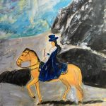 "Xiaoqiong Wu, A Lady on Horseback, 2020, acrylic paint on canvas, 24"" x 18"""
