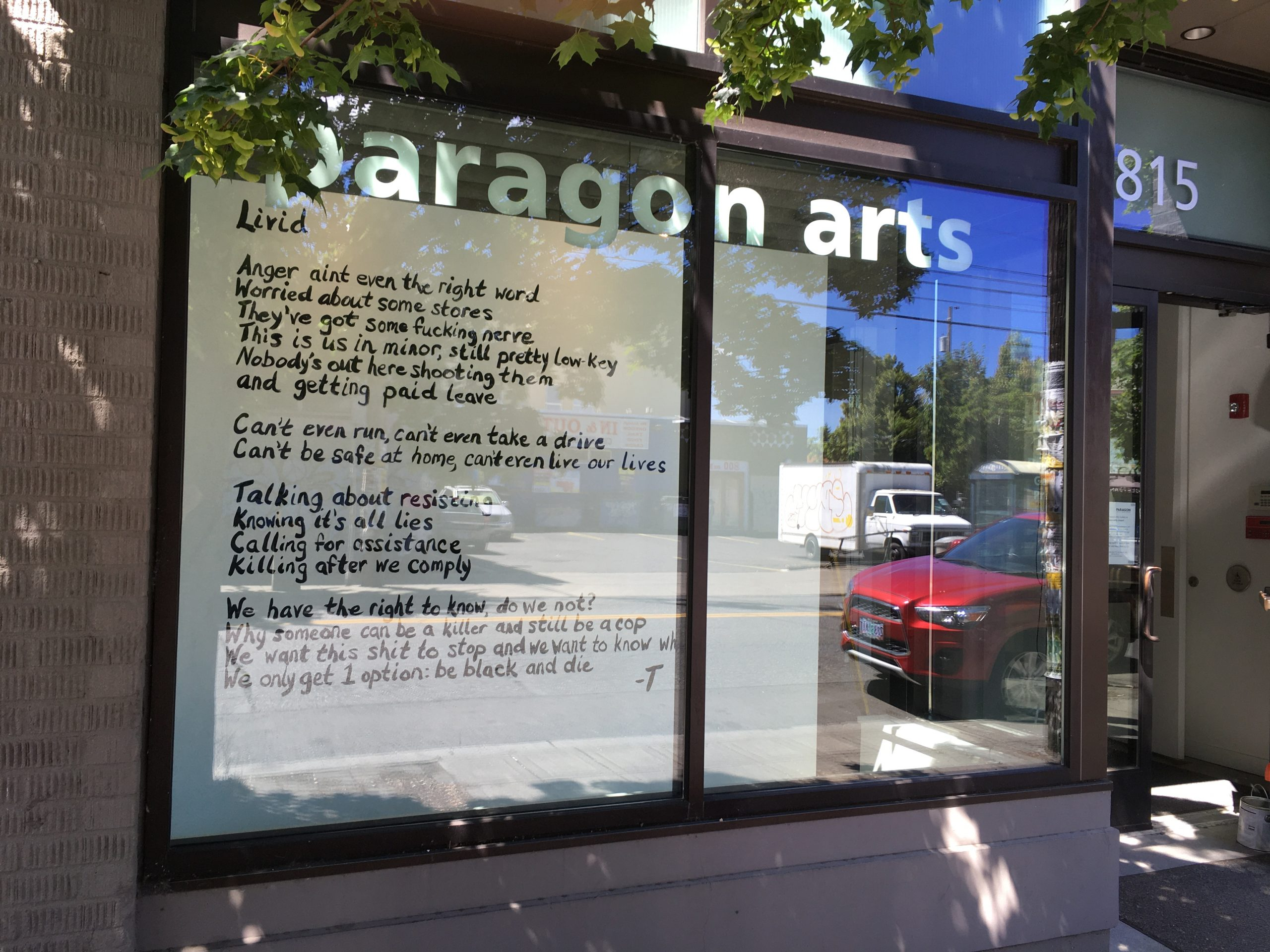 poem in window