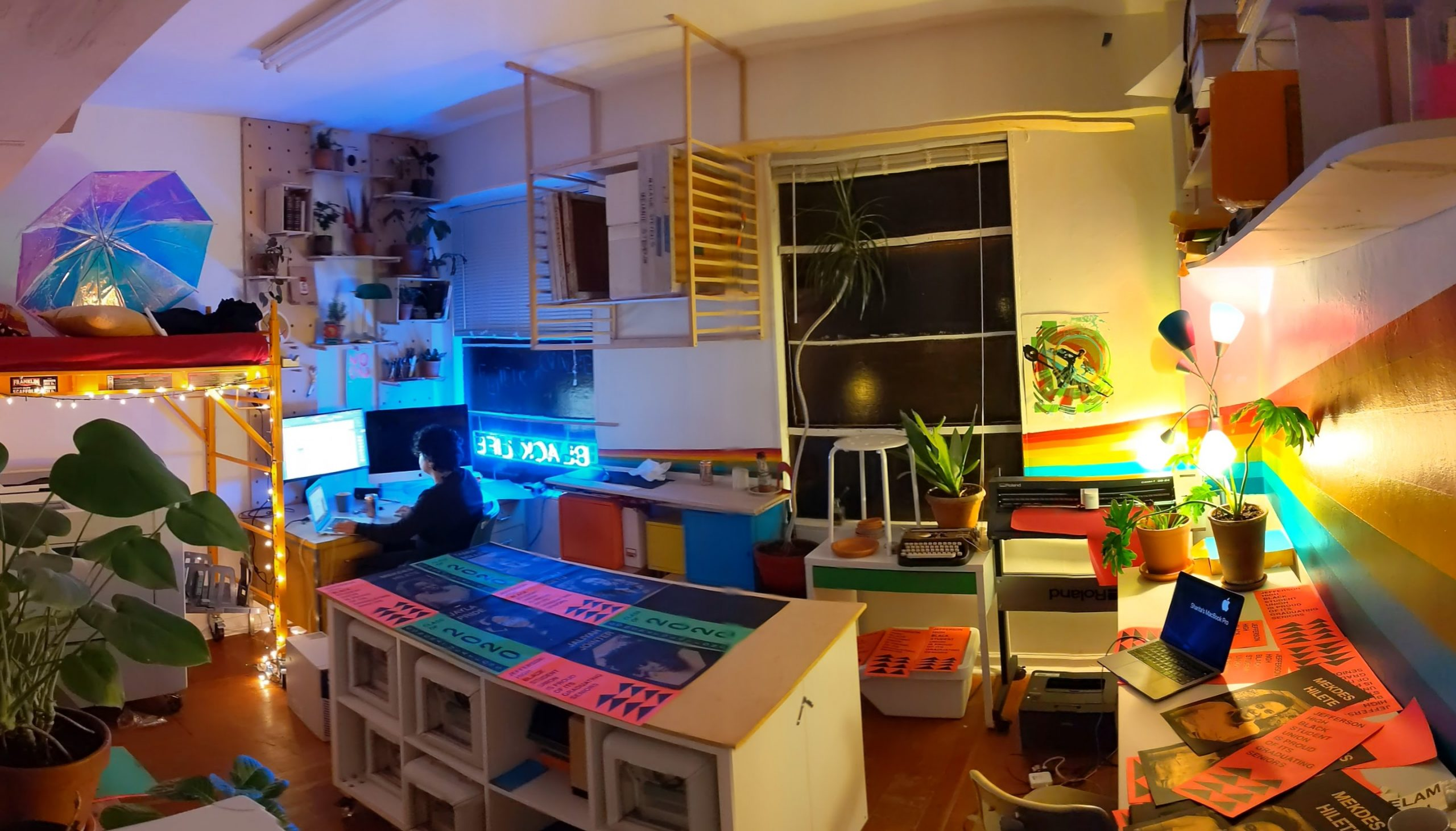 studio view with screenprinted posters