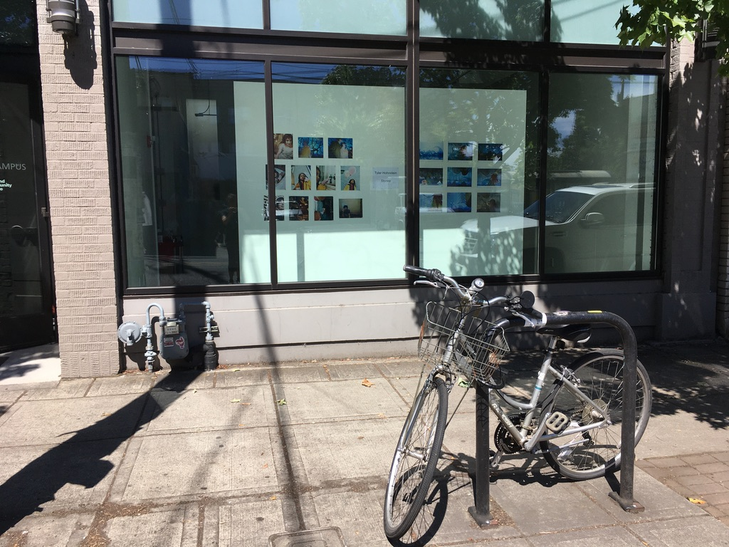Tyler Hohnstein, Stories, window exhibition, 2020, view from sidewalk