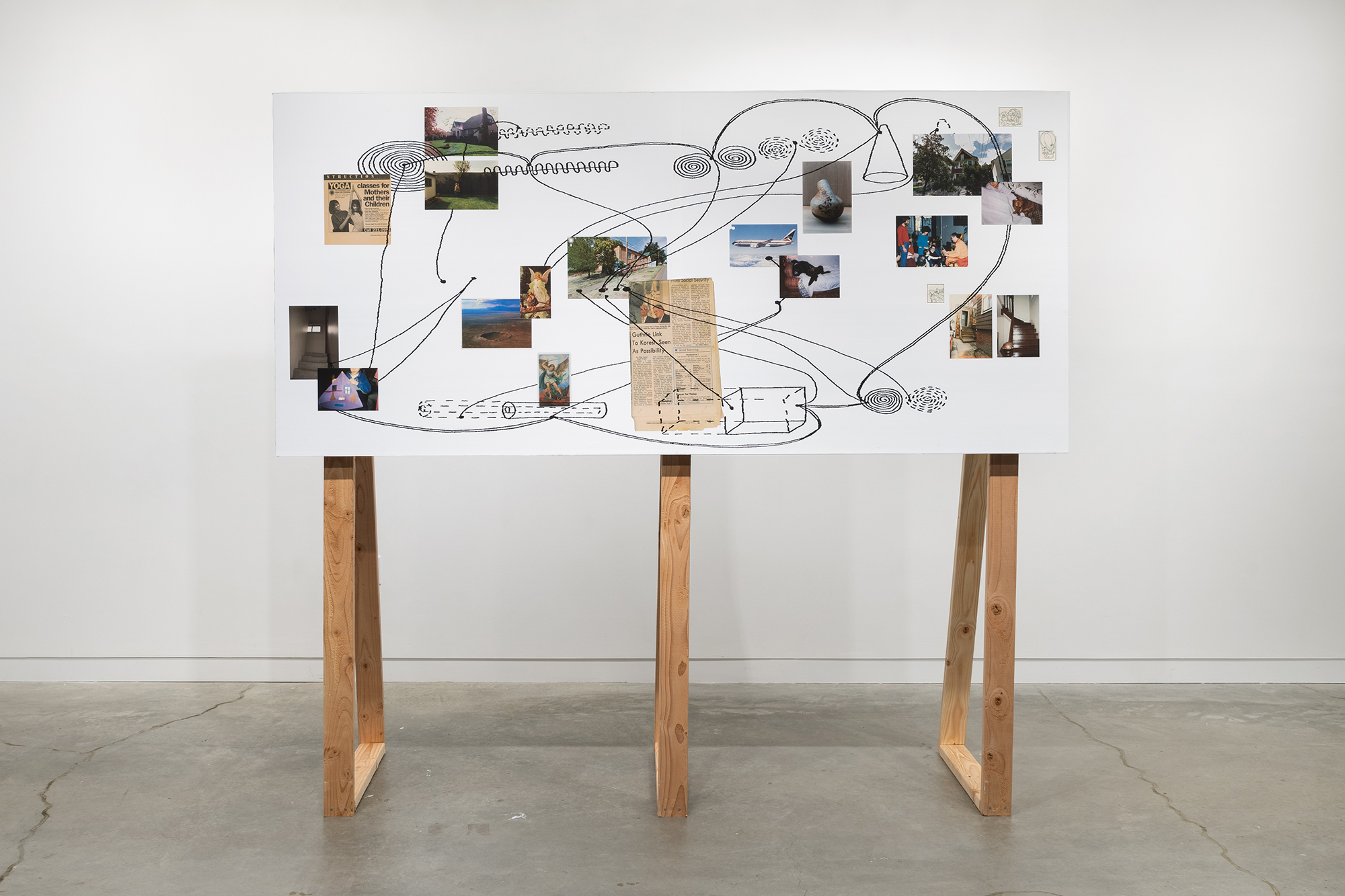Rami George, Untitled (mapping), 2020, inkjet print, wood, 84 x 96 x 28 in.