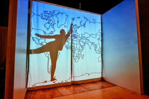 (UN)Belonging, shadow performance with projections at Shaking Tree Theater, Portland, OR, 2018