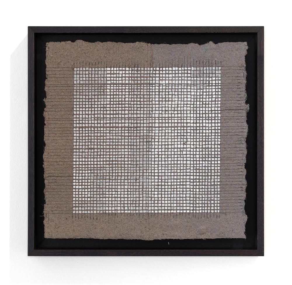 Jenene Nagy artwork of brown handmade paper with a white grid