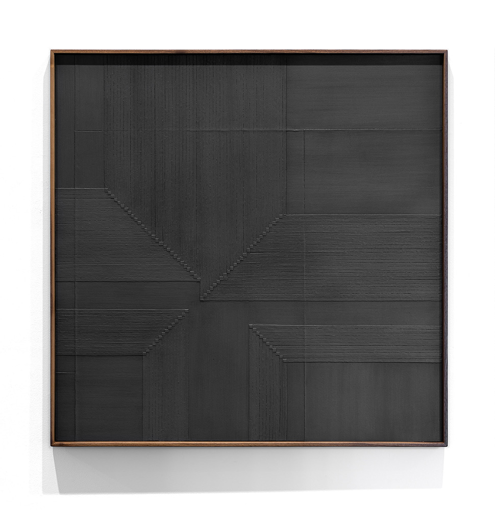 Jenene Nagy artwork that's square and dark gray with a line pattern
