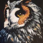A painting depicting a great horned owl with its head turned right so that its gold left eye stares directly at the viewer.
